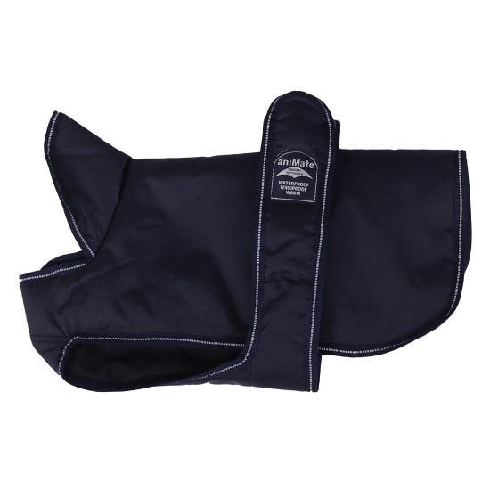 16639 16 inch Dark Blue Reflective Underbelly Padded Dog Coat