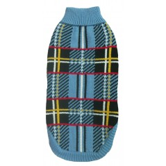 70125 18 inch Blue Tartan Design Polo Neck Jumper