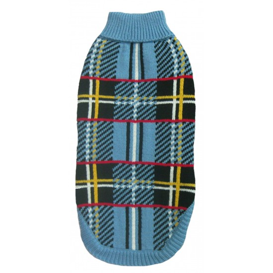 70122 12 inch Blue Tartan Design Polo Neck Jumper