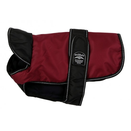 16655 18 inch Burgundy Black Reflective Underbelly Padded Dog Coat