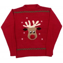70332 Ex Sm Red Reindeer with Pompom Nose and Crew Neck Human Matching Jumper