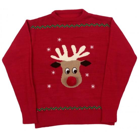 70334 Med Red Reindeer with Pompom Nose and Crew Neck Human Matching Jumper