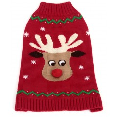 70187 22 inch Red Reindeer Pompom Nose Crew Neck Jumper