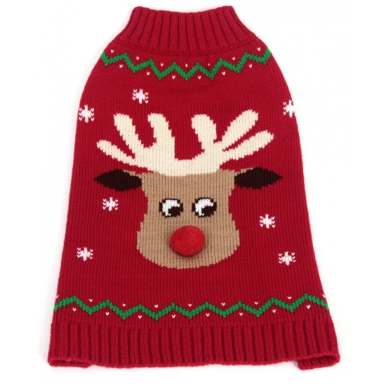 70182 12 inch Red Reindeer Pompom Nose Crew Neck Jumper