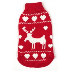 70020 Red Polo Neck Reindeer Christmas Dog Jumper