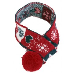70092 Christmas Scarf with Pompom - Lge