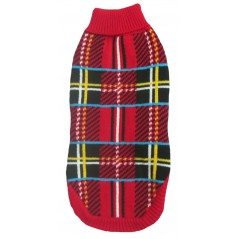 70111 10 inch Red Tartan Design Polo Neck Jumper