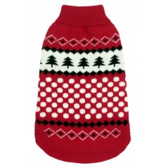 Red Black Snowflake Polo Jumper 8 inch