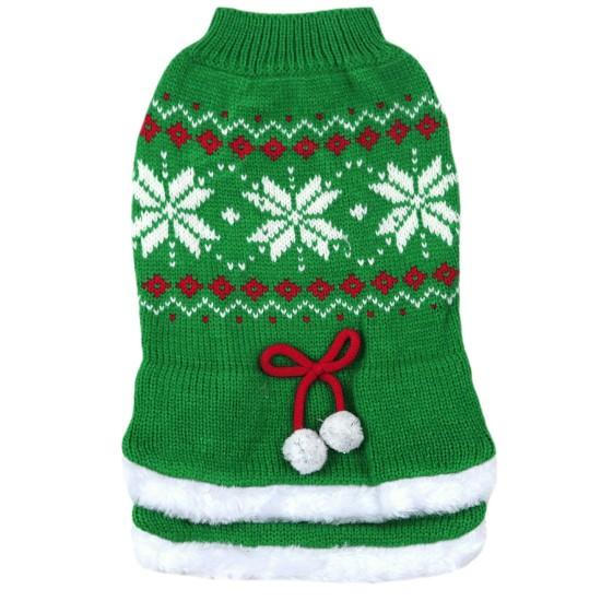 70030 Green Tutu Snowflake Christmas Dog Jumper