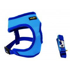 30801 Blue Soft Mesh Harness and Lead 38cm - 52cm Med