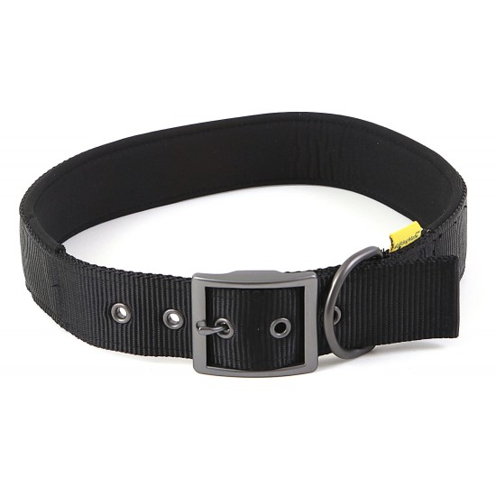 "30671 Black Padded Neoprene  Nylon Collar 1"" x 16"" - 20"" for dogs"