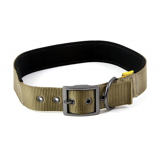 "30683 Olive Padded Neoprene  Nylon Collar 1.5"" x 24"" - 28"" for dogs"