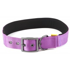 "30692 Purple Padded Neoprene  Nylon Collar 1"" x 20"" - 24"" for dogs"