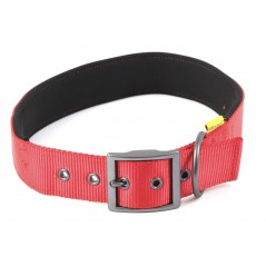 "30662 Red Padded Neoprene  Nylon Collar 1"" x 20"" - 24"" for dogs"