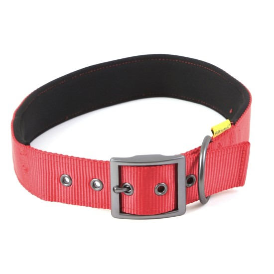 "30660 Red Padded Neoprene  Nylon Collar 3/4"" x 12"" - 16"" for dogs"